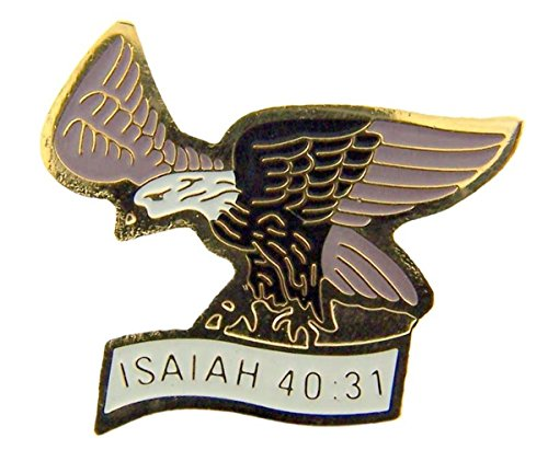 (Gold Tone and Enamel American Eagle Isaiah 40:31 Lapel Pin, 3/4 Inch )