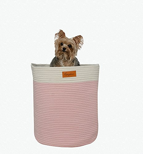 """Laundry Basket - Storage Hamper - Woven Cotton Rope with Handles - XL 16.5""""x 16.5"""" Baby Gift - Nursery Decor - Bin for Clothes, Toys, Towels, Blankets - Home Organizer - Decorative Jumbo Size by Googoolux"""