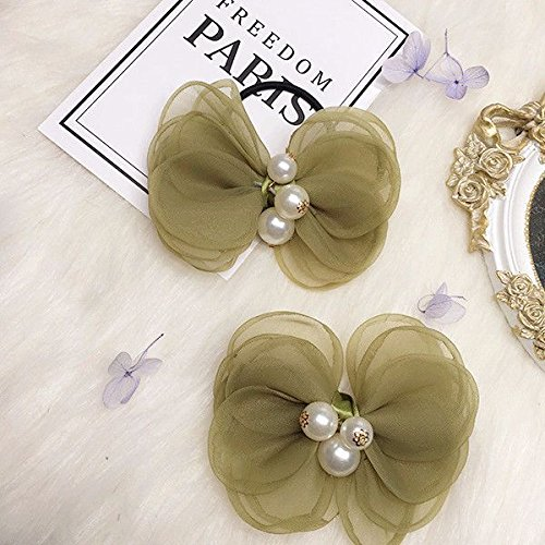 Sen-based multilayer gauze green garden flowers Jane black hair ring sweet fresh hair rope the same paragraph hairpin side folder for women girl lady ()