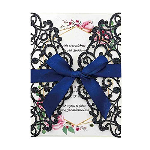 Hosmsua 20x Laser Cut Flora Lace Invitation Cards with Ribbon and Envelopes for Wedding invites Cards Bridal Shower Engagement Birthday Party (Navy Blue -