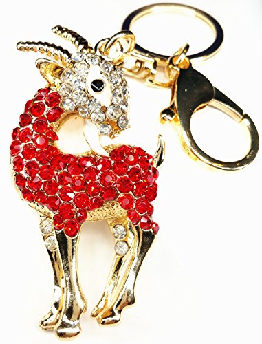(Betterdecor Feng Shui Bejeweled Auspicious Ram/Goat/Sheep/Key Ring (with a Bag)-4 )