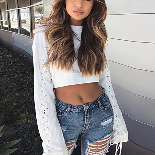 SKY Mujer Correas chaqueta párrafo corto Solid Round Neck Tops Long Sleeve Bandage Blouse blanco