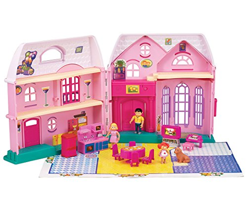 CoTa Global My Happy Family Pink Plastic Doll House - 2 Story Mansion - Includes over 15 Accessories - Foldable for Easy Carrying and Storage - Lights and Sounds - Pretend Play Playsets (25pc Set) (Cottage Two Story)