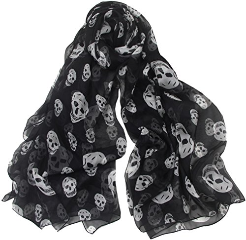 Aoli's Fashion Women's Solid Color Soft Long Oversized Mulberry Silk Wedding Scarf Wrap(Black Skull) ()