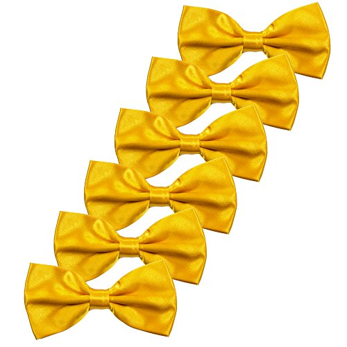 Boys Children Formal Bow Ties - 6 Pack of Solid Color Adjustable Pre Tied Bowties(Golden Yellow)