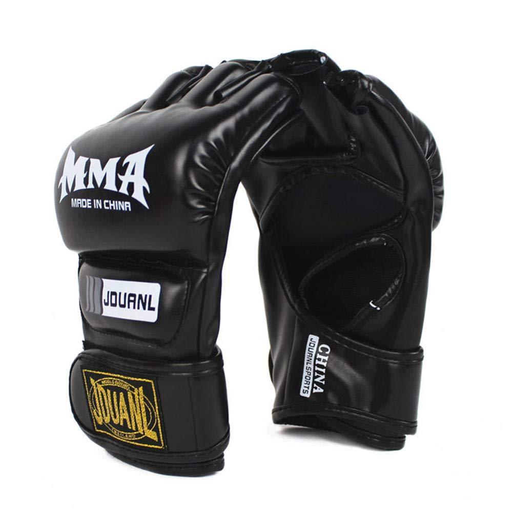 Su-luoyu Boxeo/Fitness PU Medio Dedo Guantes de Boxeo Guantes de Lucha Entrenamiento de UFC Saco de Arena Suave y Transpirable
