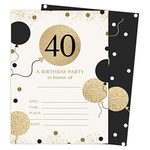 40th Birthday Party Invitations (40th Birthday Style 1 Happy Birthday Invitations Invite Cards (25 Count) With Envelopes and Seal Stickers Vinyl Girls Boys Kids Party)