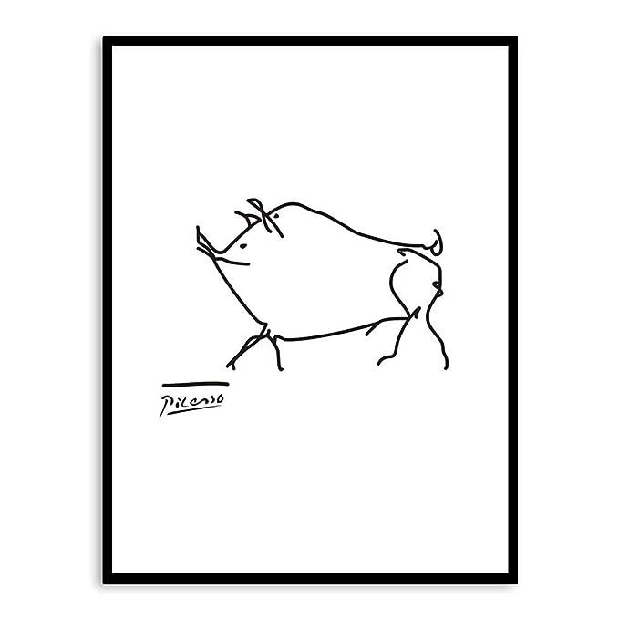 zxddzl Blanco y Negro Picasso Dibujo Lineal Animal Cerdo ...