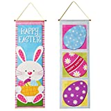 Gift Boutique 2 Easter Hanging Decorations Eggs Ornaments Tree Kitchen Yard Sign for Outdoor Decor Bunny Decorative Wall Paper Party Door Ornament Banner Supplies Hang at Home Multicolor Poster