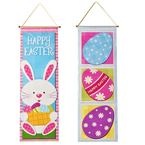 (Gift Boutique 2 Easter Hanging Decorations Eggs Ornaments Tree Kitchen Yard Sign for Outdoor Decor Bunny Decorative Wall Paper Party Door Ornament Banner Supplies Hang at Home Multicolor Poster)