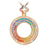 "QIANSE Designer ""DUBAI Eye Wolrd Premiere Rainbow-Colored Crystals Rose Gold Plated Ferris Wheel Pendant"""