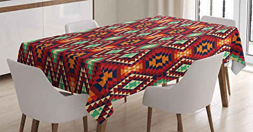 Ambesonne Native American Decor Tablecloth, Geometric Triangle Aztec Tribal Motif and Zig Zag Folk Art Style Ethnic Artistic Work, Rectangular Table Cover for Dining Room Kitchen, 60x84 inch, Multi