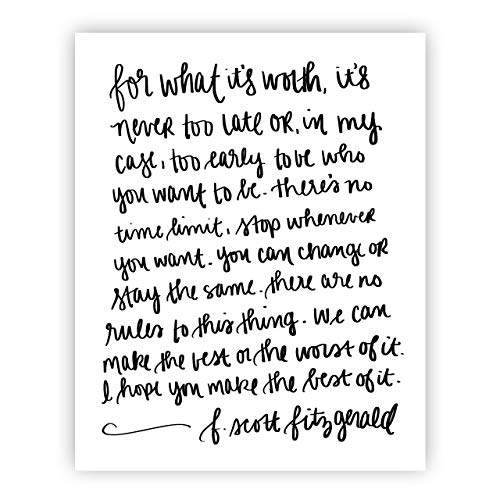 (For What It's Worth F. Scott Fitzgerald Quote Print Art | Motivational Quote Inspirational Gallery Wall Office Accessories)