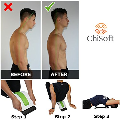 Best Arched Back Stretcher As Seen Doctors TV - CHISOFT (2nd Edition) Lumbar Stretching Device + Extra Cushion Foam + Trigger Point Massage Ball, Improve Posture, Sciatica Back Pain Relief by CHISOFT (Image #3)