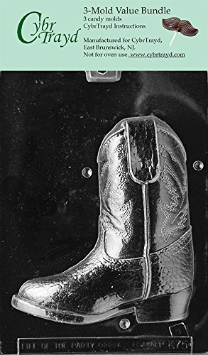 CybrTrayd K075B-3BUNDLE 3D Cowboy Boot-Piece 2 Chocolate Candy Mold with Exclusive Copyrighted 3D Chocolate Molding Instructions