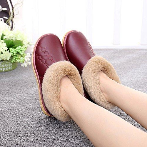 CWAIXXZZ pantofole morbide Autunno Inverno pacchetto con pantofole di cotone spessa caldo paio di uomini e donne rimangono fondo antiscivolo morbido cotone fondo scarpe sul 26 (36-37), Rosa
