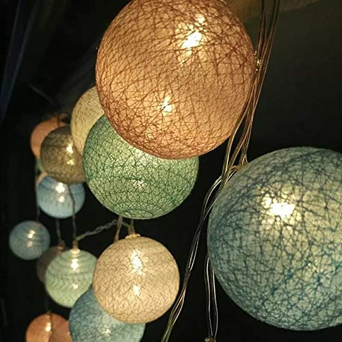 Ocean Blue 3 Meters Novelty String Lights,Globe Rattan Ball String Lights Battery Powered with 20 LED ball in 3 Meters for Indoor//Outdoor Patio Backyard Pool Pergola Market Cafe Porch Garden Marquee Decor