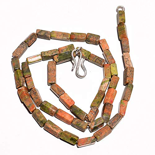 Kanta Incorporation Natural Unakite Gemstone Square Tube Smooth Beads Necklace 18
