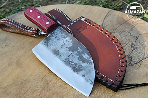 Original ALMAZAN KNIVES Hand Forged Kitchen Knife in High Carbon Steel with Original Leather Sheath
