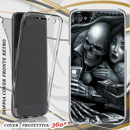 CUSTODIA COVER CASE GAME SKULL PER IPHONE 4 FRONT BACK