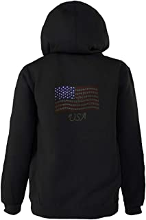 product image for Akwa Women's Patriotic Hooded Full Zip Sweatshirt Jacket with Rhinestone USA Flag Made in USA