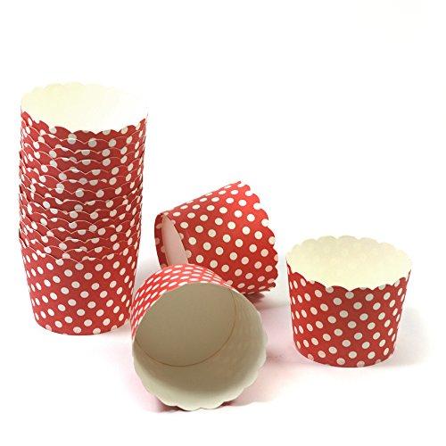 50 Frau Wundervoll Muffin Backformen aus stabilem Papier - rot mit weißen Punkten, klein Ø 5 cm - Muffinförmchen / Cupcake Backformen / Muffindeko aus stabilem Papier