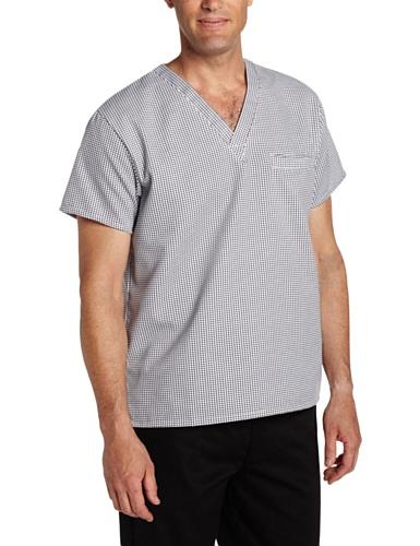 Dickies Men's V-Neck Cook Shirt, Houndstooth, ()