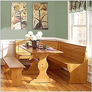 Swell Solid Wood Corner Honey Dining Set With Bench Machost Co Dining Chair Design Ideas Machostcouk