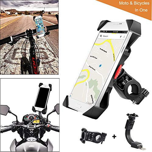ZOORE Bike Phone Mount, Adjustable Silicone Premium Anti-Shake 360° Rotation Holder- Universal Cradle Clamp for iOS, Android Smartphone, Cycling, GPS, Other Devices Between 3.5 and 6.5 inches