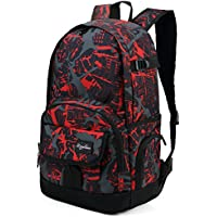 Ricky-H Lifestyle College Back Pack with Laptop Compartment (Graffiti Dark Red)