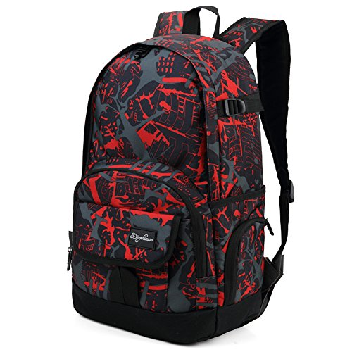 Boys Graffiti - Ricky-H Red/Black Graffiti School Backpack for Girls & Boys Students, Men & Women, Lightweight with Laptop Compartment-Dark Red