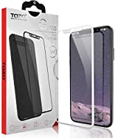TOZO for iPhone X Screen Protector Glass [ 3D Full Frame ] Technology Premium Tempered 9H Hardness 2.5D PET [Soft Edge Hybrid] Super Easy Apply [ White] from TOZO