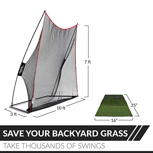 Rukket 3pc Golf Bundle | 10x7ft Haack Golf Net | Tri Turf Hitting Mat | Carry Bag | Practice Driving Indoor and Outdoor | Golfing at Home Swing Training Aids | by SEC Coach Chris Haack by Rukket Sports (Image #3)