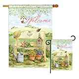 """inspiring metal patio side table Breeze Decor FK100050-BO Welcome Garden Bench Inspirational Sweet Home Impressions Decorative Vertical 28"""" x 40"""" Double Sided Flags Kit Printed in USA Multi-Color"""