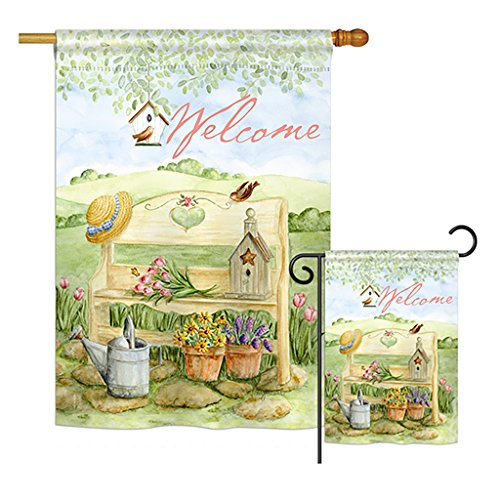 """Breeze Decor FK100050-BO Welcome Garden Bench Inspirational Sweet Home Impressions Decorative Vertical 28"""" x 40"""" Double Sided Flags Kit Printed in USA Multi-Color"""