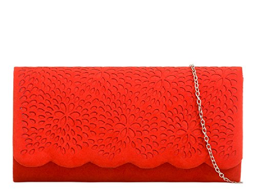 Purse Laser Evening Bag Clutch Style Handbag Women's Suede Kh953 Envelope Ladies Orange Cut Sdxvqav1