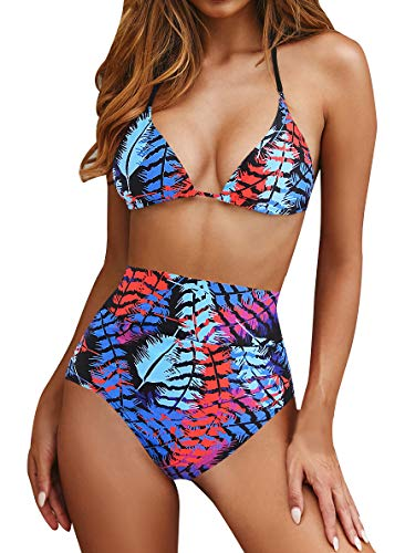 Halter Push Up Bikini Set Padded Triangle High Waisted Two Pieces Swimsuits Swimwear Printed Feather M ()