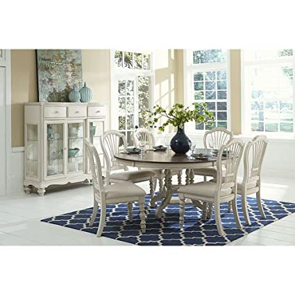 Amazon Com Hillsdale Furniture 7 Pc Round Dining Set In Old White