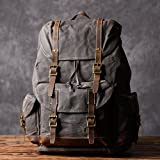 Handcrafted Waxed Canvas Leather Travel Backpack School Backpack Cool Hiking Rucksack