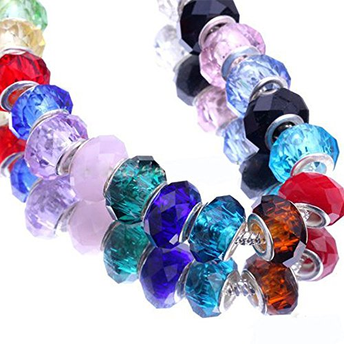 RUBYCA Mixed Faceted Murano Lampwork Glass Beads Fit European Charm Bracelet 14MM 50 pcs By eArt