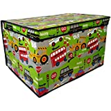 Kids Childrens Foldable Pop Up Storage Toy Books Clothes Box Tidy Chest (Road Works Large)