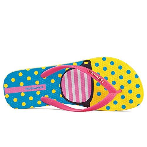 Flops Beach Hotmarzz amp; Flip Slippers Sandals Women's Cartoon Pink Summer Graffiti Colorful Prints vvpwHU