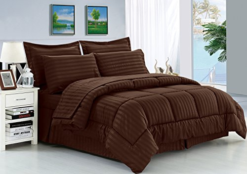 Elegant Comfort Wrinkle Resistant - Silky Soft Dobby Stripe Bed-in-a-Bag 8-Piece Comforter Set -Hypoallergenic - King Chocolate
