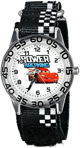 Disney Kids' W001188 Cars Lightning McQueen Plastic Watch, Printed Stretch Nylon Strap, Analog Display Analog Quartz Black Watch