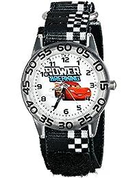 Kids' W001188 Cars Lightning McQueen Plastic Watch, Printed Stretch Nylon Strap, Analog Display Analog Quartz Black Watch