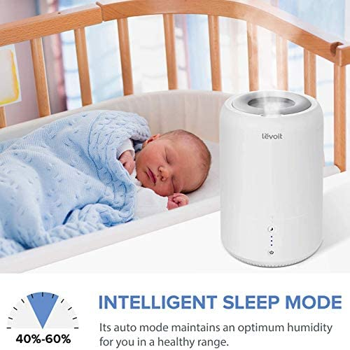 51Lq34nHCBL. AC - LEVOIT Humidifiers For Bedroom, Cool Mist Humidifier For Babies, Top Fill Ultrasonic Air Humidifier, Essential Oil Diffuser With Smart Sleep Mode, Whisper Quiet Operation, Auto Shut Off (1.8L/0.48Gal)
