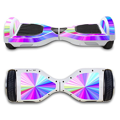 SKINOWN Self Balance Two Wheel Balance Board Hover Scooter Sticker Protective Skin Wrap Adhesive Vinyl Decal Cover Rainbow -