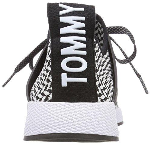 Hilfiger Denim Herren Tommy Jeans Check Knit Sneaker Schwarz (White-Black 904)