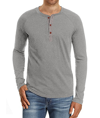 Mr.Zhang Men's Casual Slim Fit Long Sleeve Henley T-Shirts Cotton Shirts Light Gray-US L -