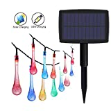 #8: GEEKHOM Solar Powered Lights, Outdoor Waterproof Fairy Decorative Lights 18 ft 30 LED 8 Modes with USB Charging for Garden, Party, Patio, Xmas Trees, Lawn Party Wedding(Water-drop, Muti Color)